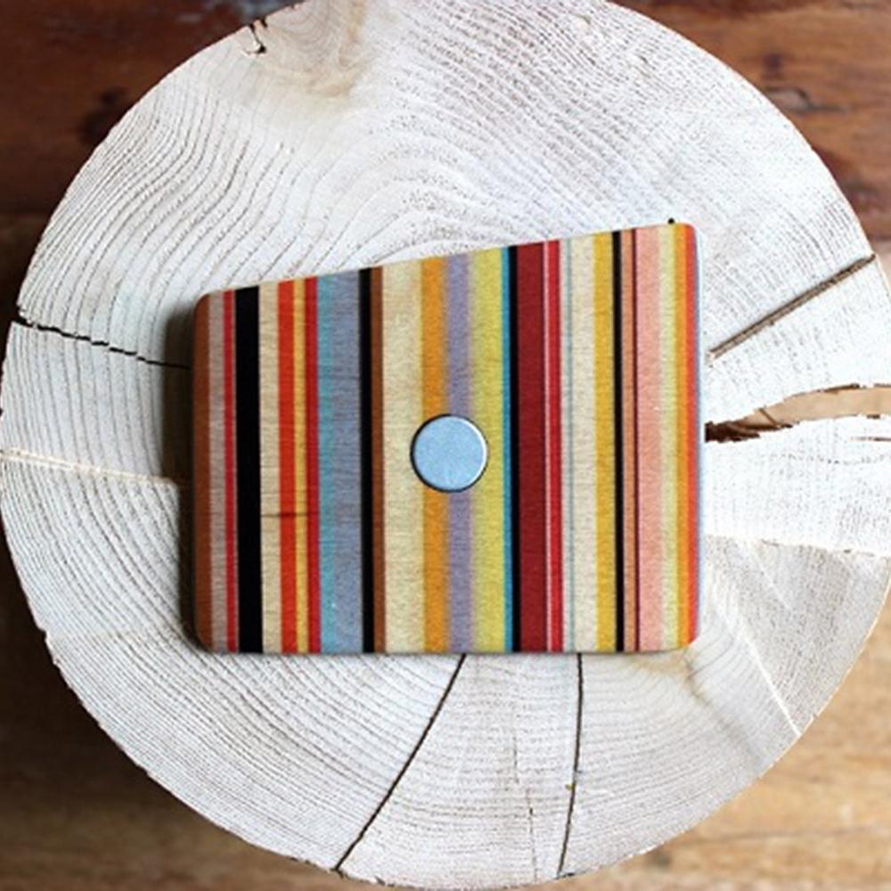 Wooden Pocket Square   Funky Stripes   Baffi   Baltic Birch