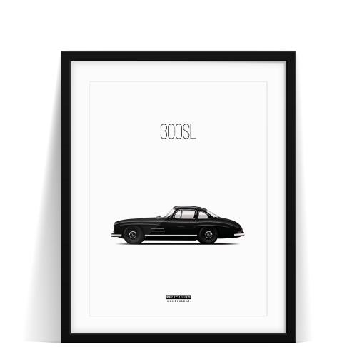 car prints, Mercedes 300SL monochrome, luxury car art