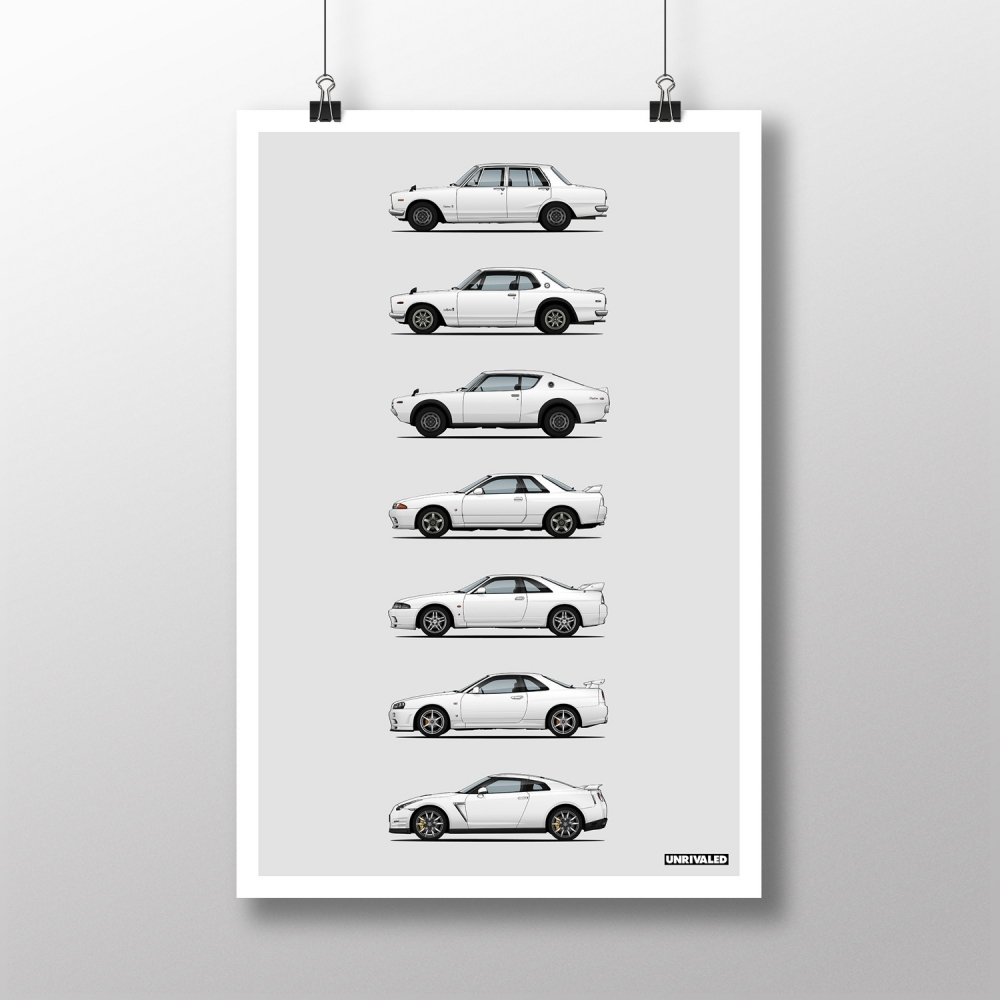 Nissan GT-R Generations Print, Unrivaled