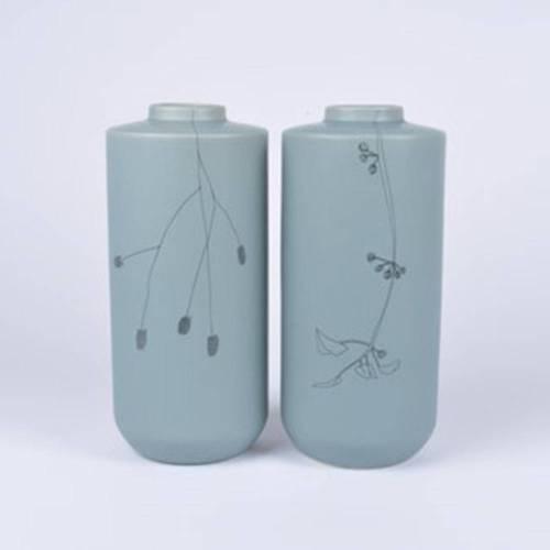 Flor Vase Set of 2, Soft Green