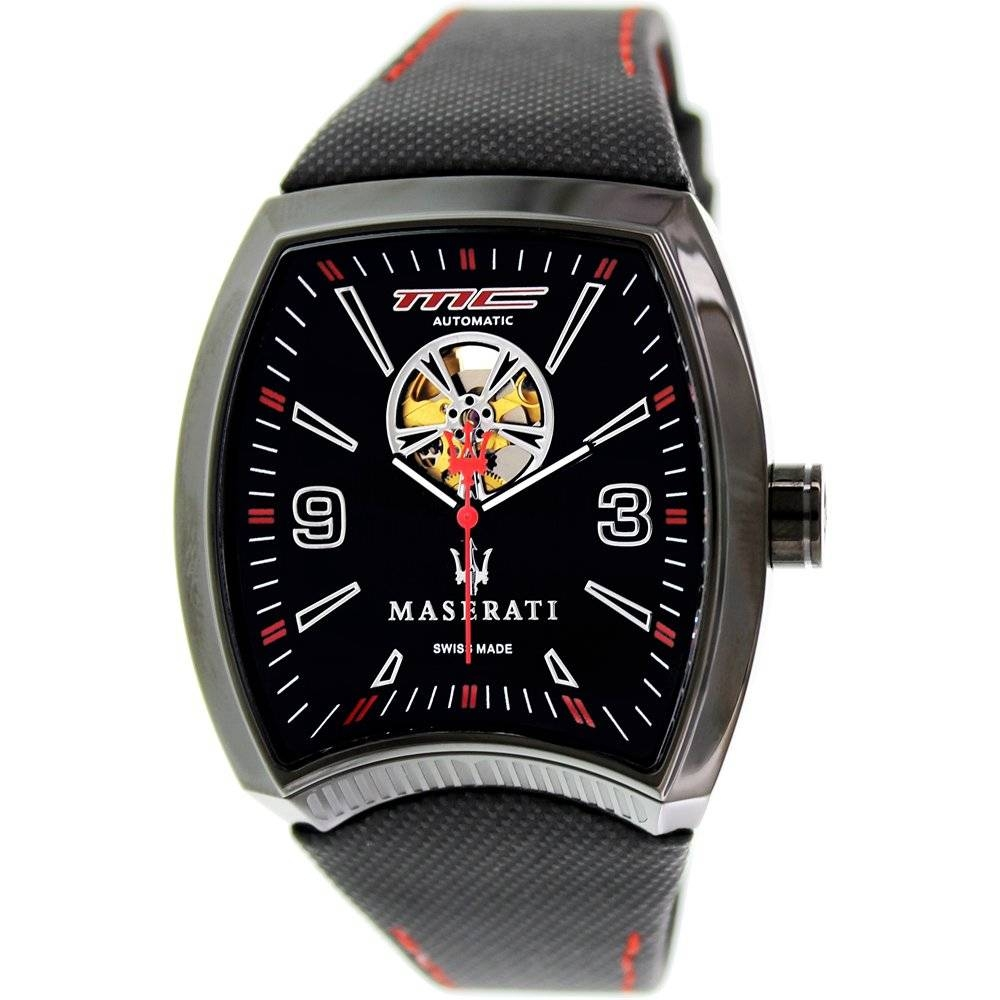 Corsa Black Leather Automatic Watch - Area Trend