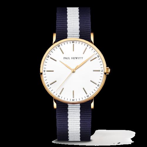 Gold Line Watch, Navy/White