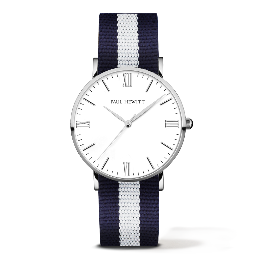 Silver Line Watch, Navy/White - Paul Hewitt