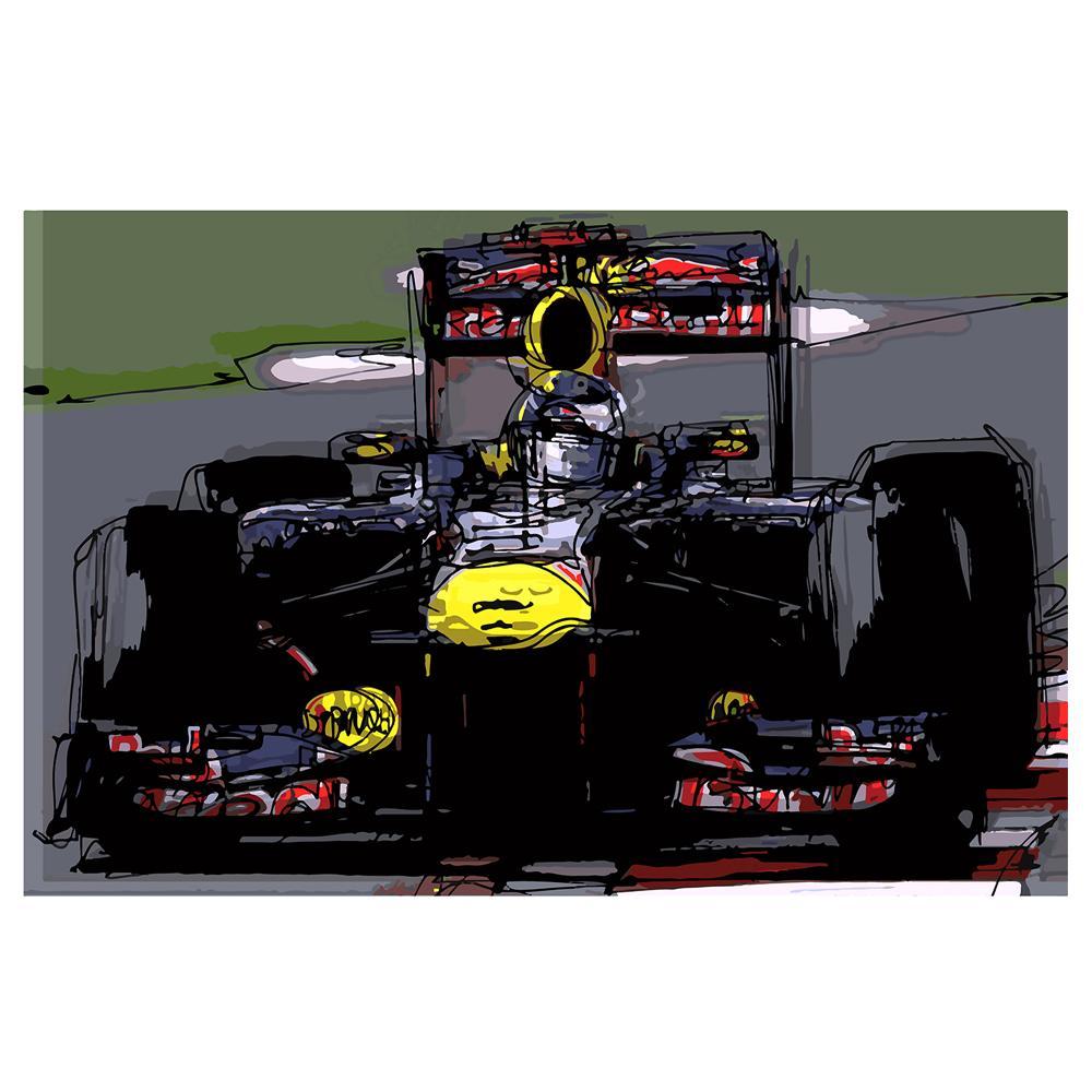 Sebastian Vettel F1 Red Bull Watercolor   By Artist Bilbeisi