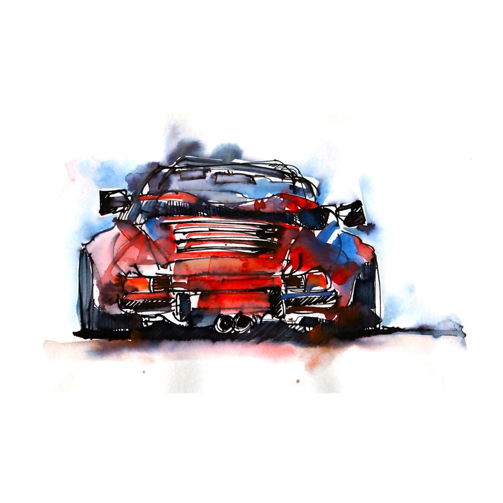 Porsche 911 Carrera Cabriolet Watercolor Print   By Bilbeisi