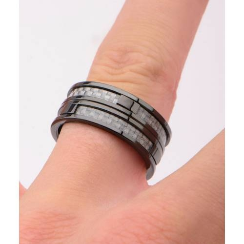 Black IP in Two Line Grey Carbon Fiber Ring | Inox Jewelry