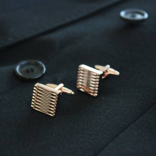 Men's Square Ribbed Cufflink