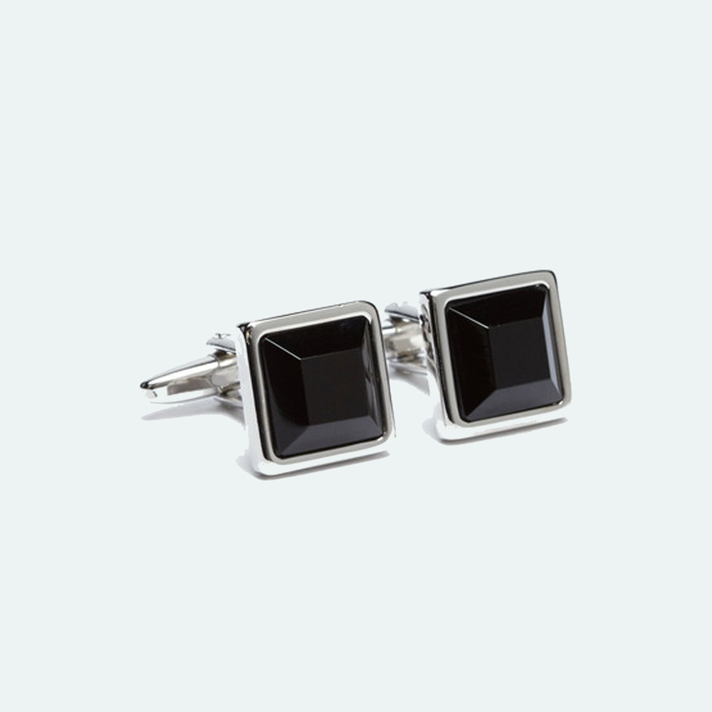 FlipMyTie Men's Black Square Cufflink
