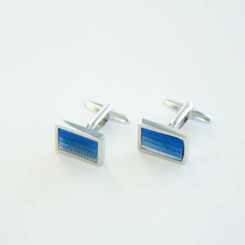 Blue & Powder Blue Lines Cufflinks - FlipMyTie