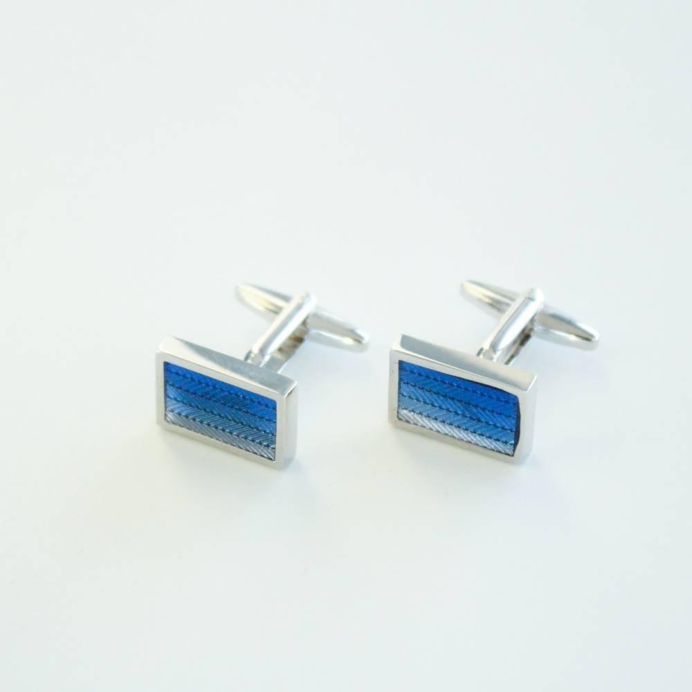 Blue & Powder Blue Lines Cufflinks - FlipMyTie