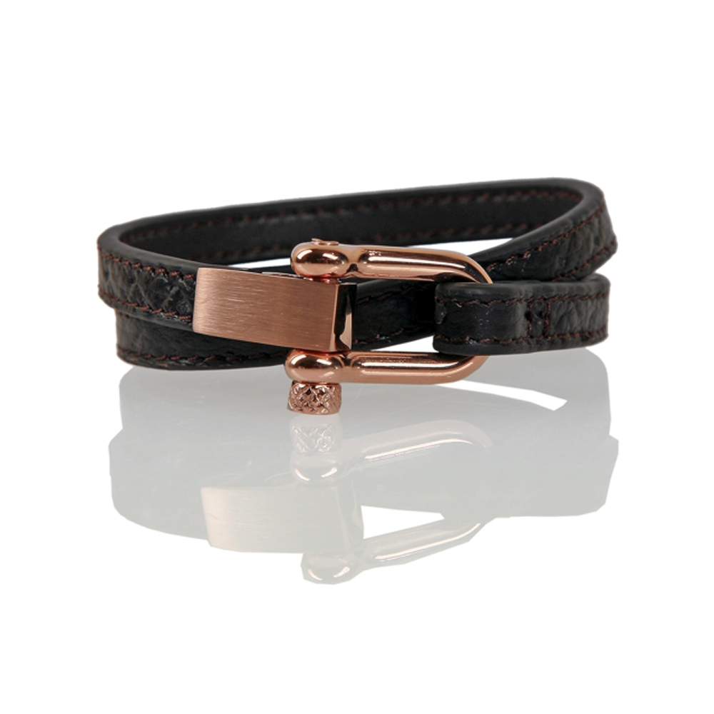 Dark Brown Bursa Woven Leather Cord Bracelet - Buttigo