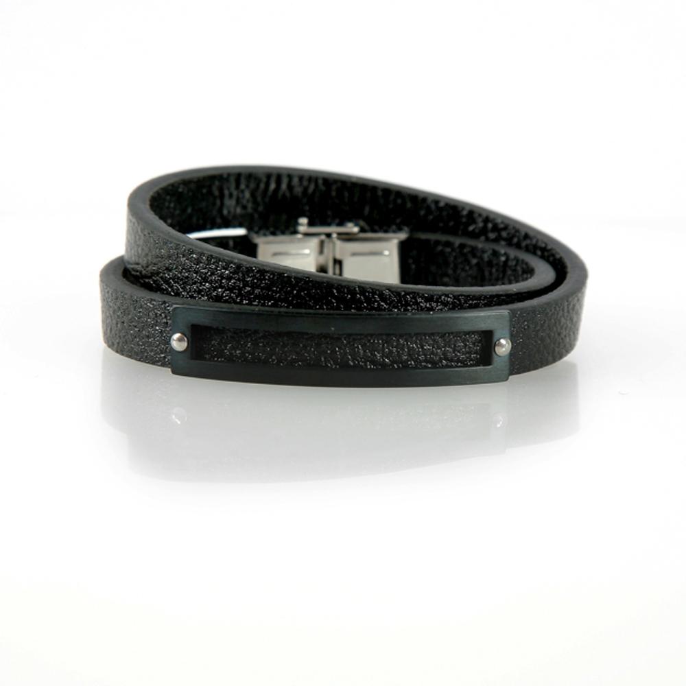 Black Bandırma Leather Bracelet - Buttigo