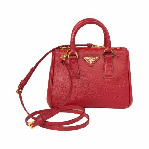 Mini Red Saffiano Leather Tote