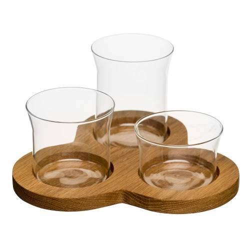 3 Glass Serving Bowls   Oak Board   Dips/Crudites   Sagaform