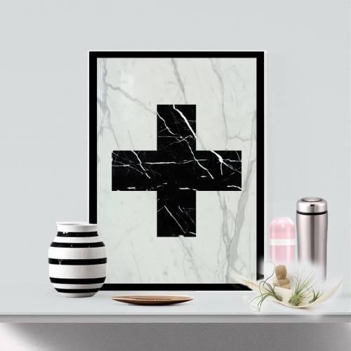 Marble Cross Art Piece