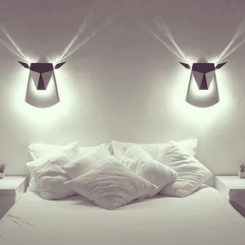 Aluminum Deer Head LED light fixture | Electricity Plug
