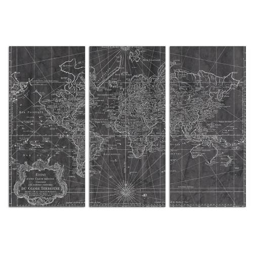 World Map 1778 Triptych   Canvas Art