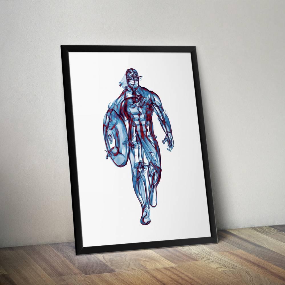 Captain America Smoke Wall Art Print Octavian Mielu