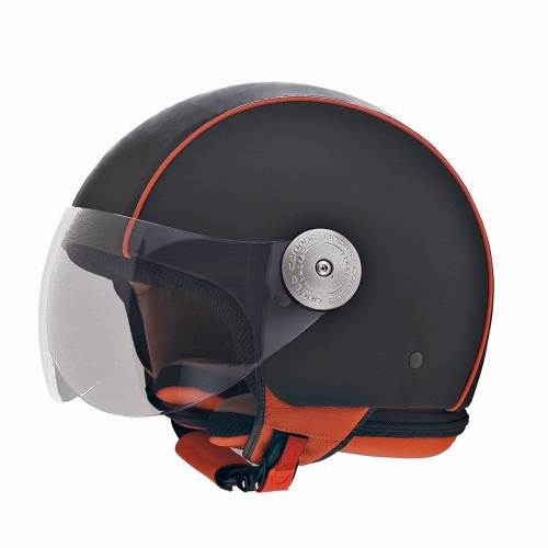 Leather Helmet | Orange Border