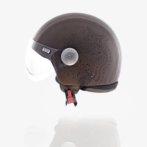 Laser Cut Leather Helmet   Brown