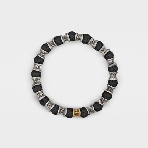 Silver Bracelet   1 Gold Link   Lava Beads