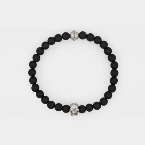 Onyx Bracelet   Silver Skull   Diamonds