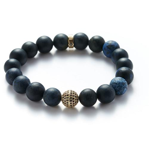 Dumortierite | Gold Ball Bracelet