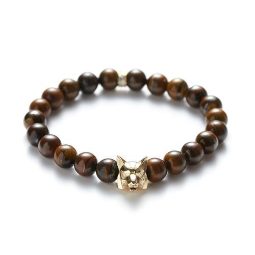 Tiger's Eye | Gold Wolf Bracelet