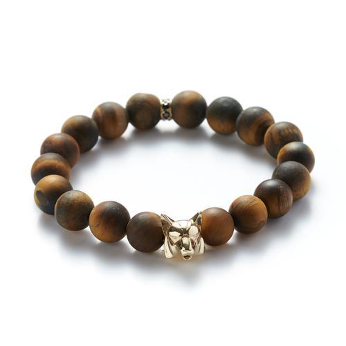 Matte Tiger's Eye | Gold Wolf Bracelet