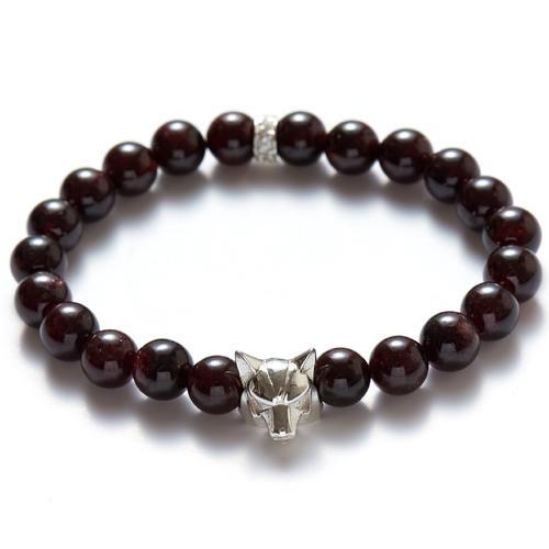 Garnet | Silver Wolf Bracelet