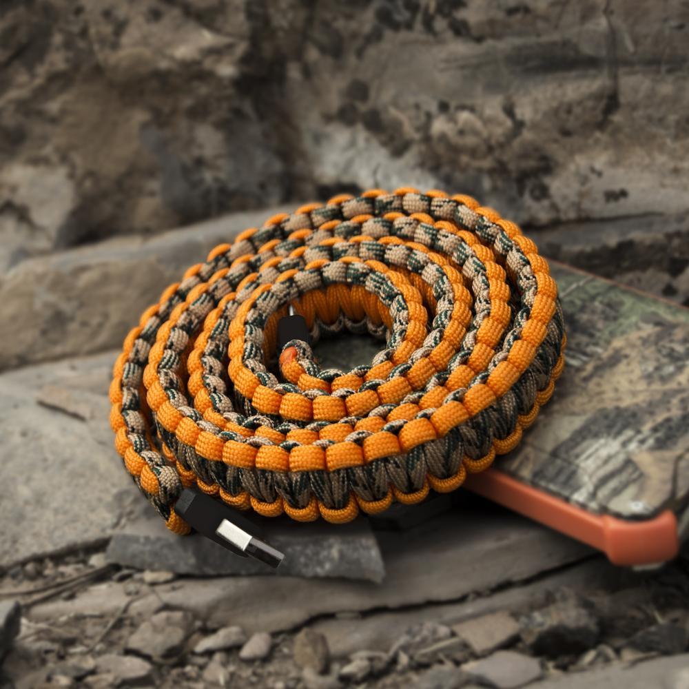 Paracord Charging Cable | Orange | Dark Energy