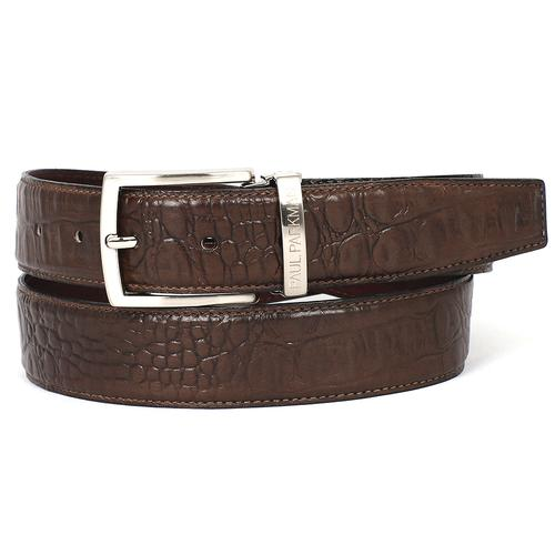 Men's Crocodile Embossed Calfskin Leather Belt | Brown