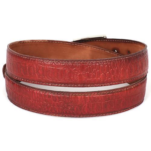 Men's Croc Embossed Calfskin Belt   Reddish