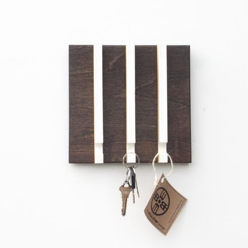 Linear Modern Key Rack   3 Hooks   Wood Butcher Designs
