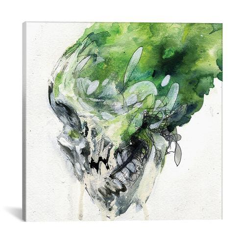 Green Skull by Black Ink Art Canvas Print