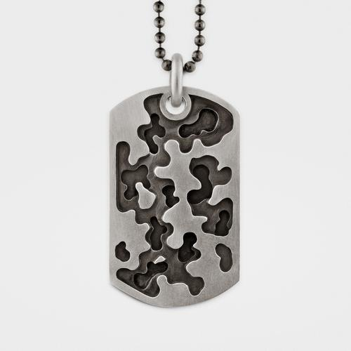 Camouflage Dog Tag | Sterling Silver