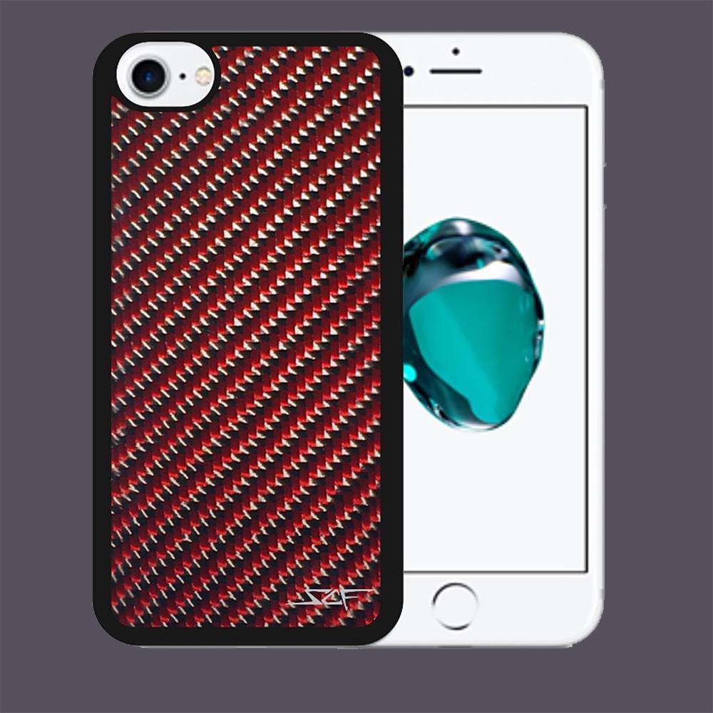 red carbon fibre iphone 7 case