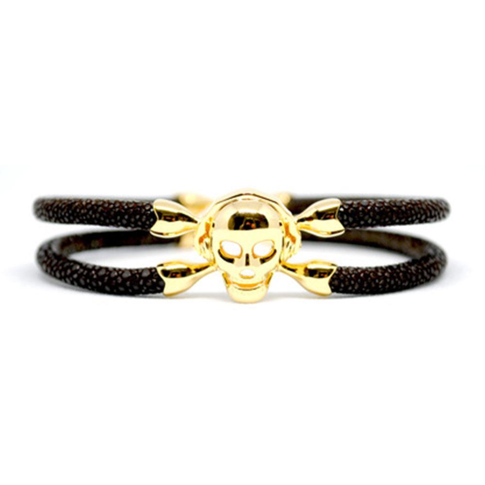Skull Bracelet | Brown with Gold Skull | Double Bone