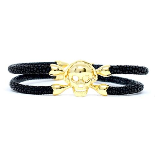 Bracelet | Single Skull | Black/Gold