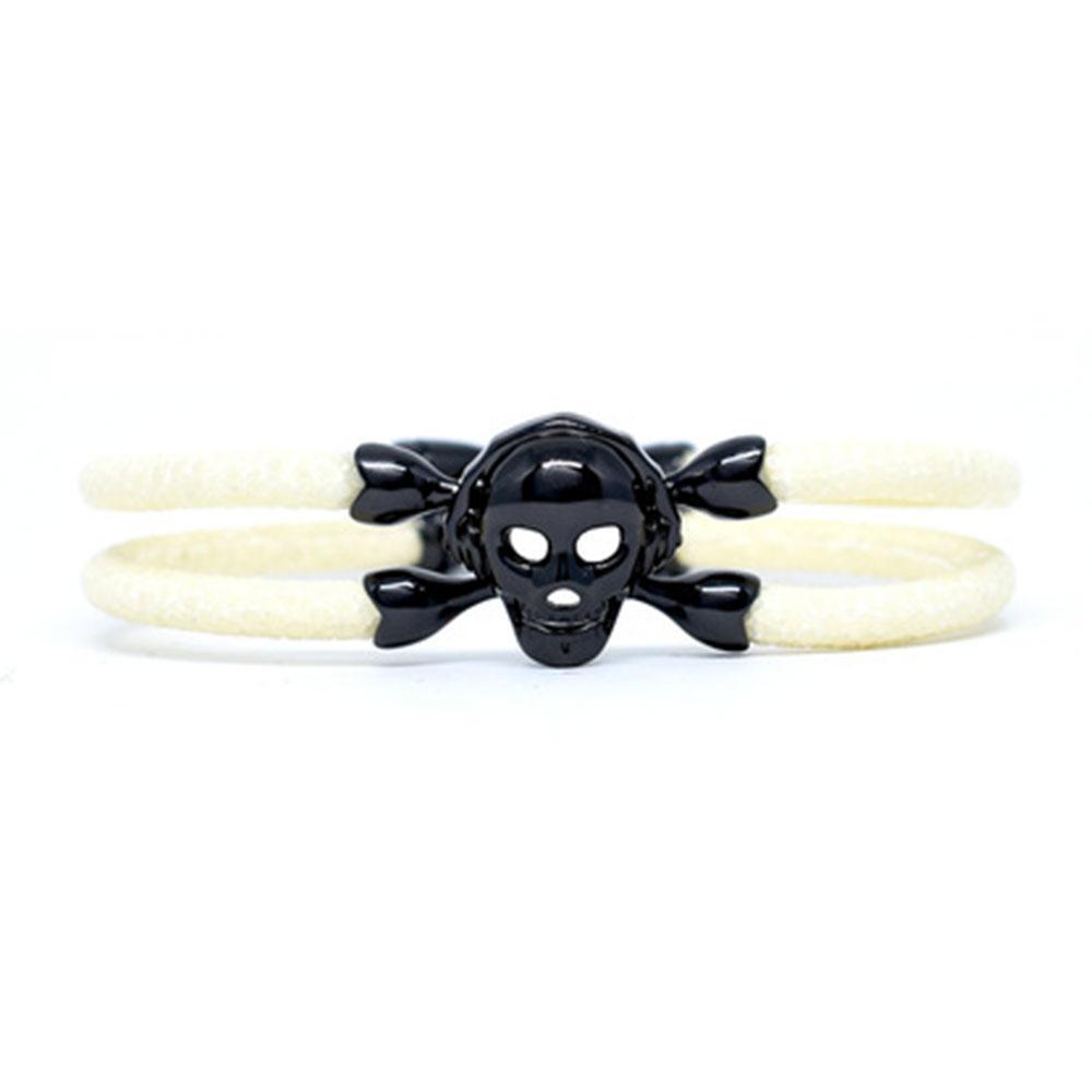 Skull Bracelet   White with Black Skull   Double Bone
