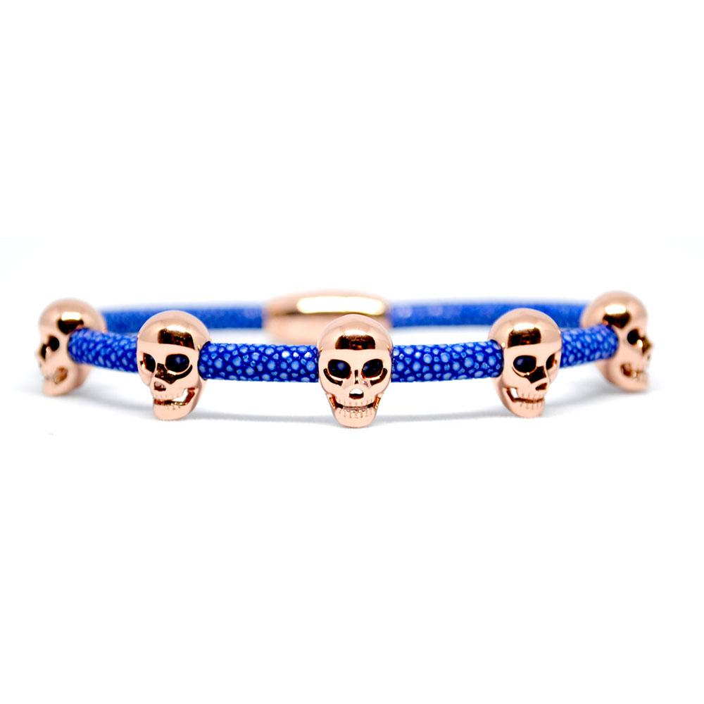 Skull Bracelet | Blue with Rose Gold Skulls | Double Bone