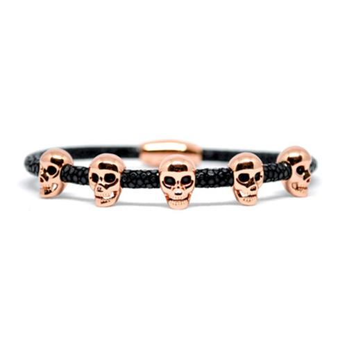 Bracelet | Multi Skull | Black/Rose Gold