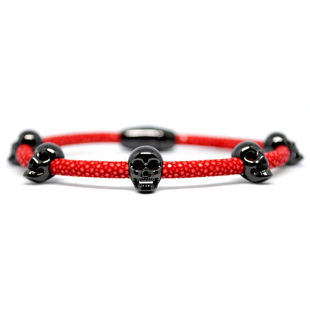 Skull Bracelet | Red with Black Skulls | Double Bone