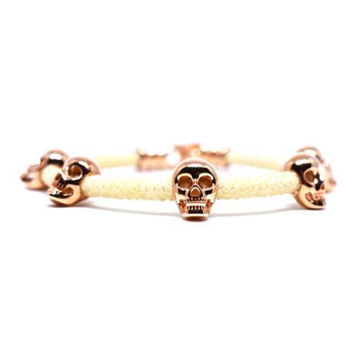 Bracelet | Multi Skull | White/Rose Gold