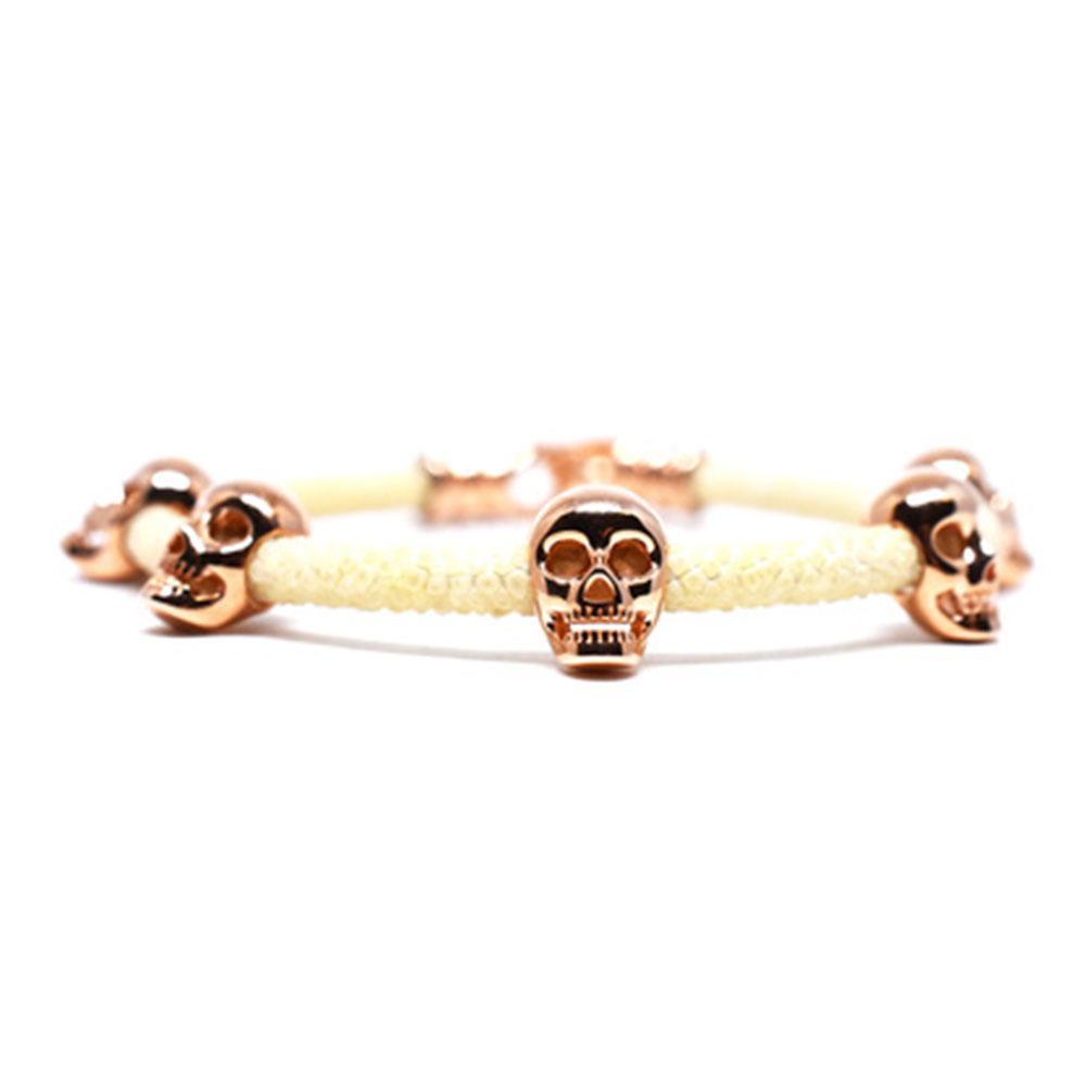 Skull Bracelet | White with Rose Gold Skulls | Double Bone