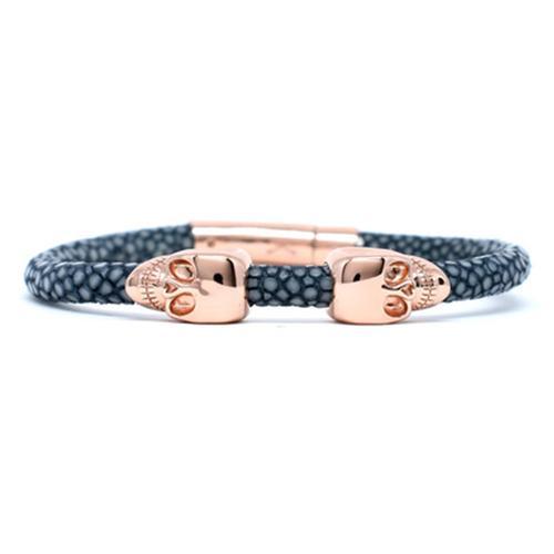 Bracelet | 2 Skulls | Gray/Rose Gold
