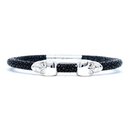 Bracelet | 2 Skulls | Black/Silver