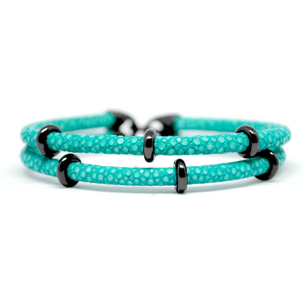 Double Stingray Bracelet   Turquoise & Black   Double Bone