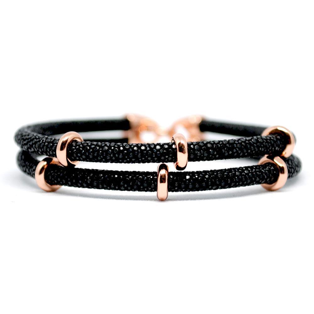 Double Stingray Bracelet   Black & Rose Gold   Double Bone