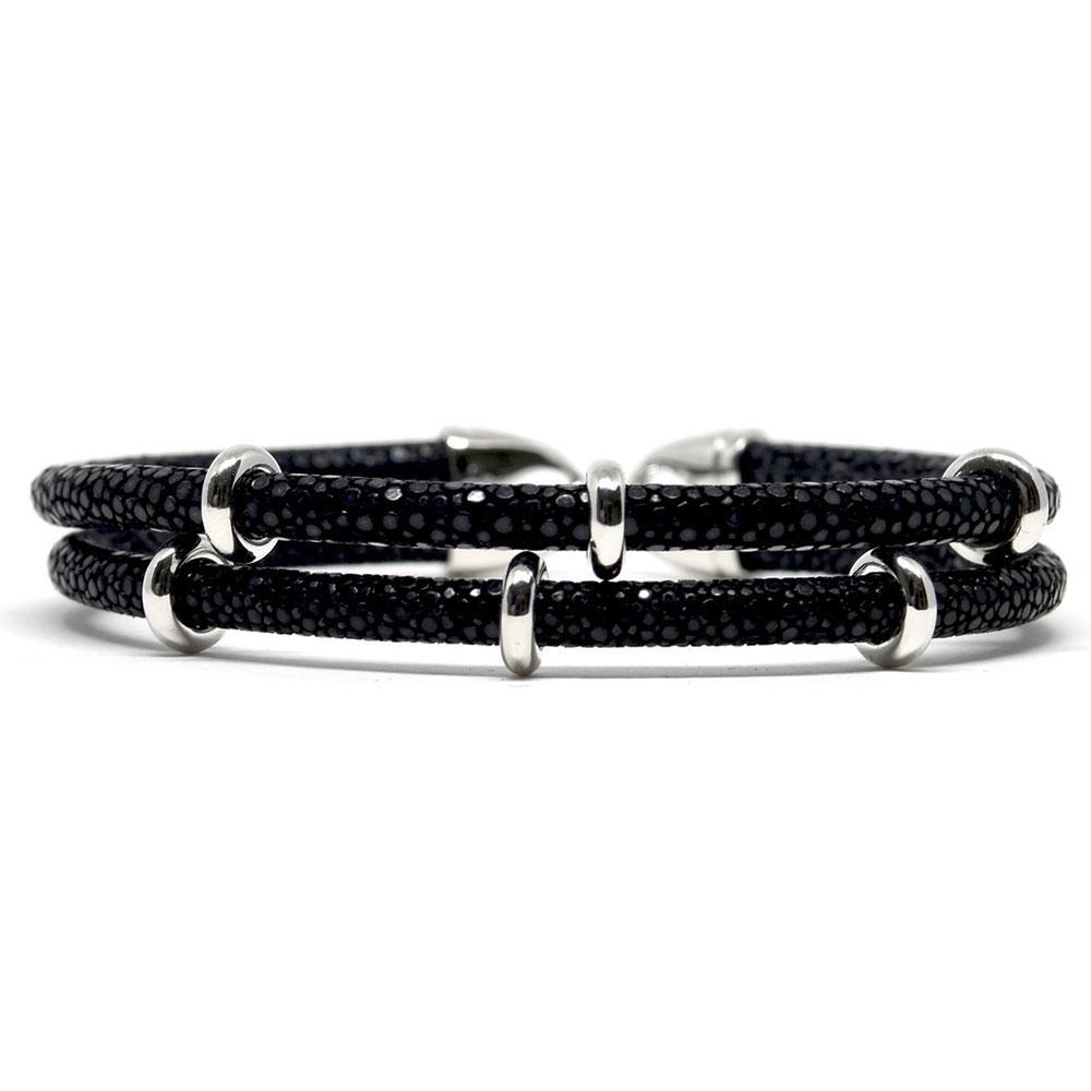 Double Stingray Bracelet | Black & Silver | Double Bone